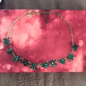 J. Crew Factory Green Floral Statement Necklace